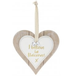 A Double Heart Plaque with I Believe In Unicorns quote in gold