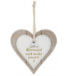 A Double heart Plaque with Be A Mermaid Make Waves quote in gold