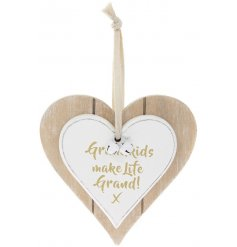 A Double Heart Plaque with Grandkids Make Life Grand quote in gold