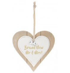 A double heart plaque featuring Brand New Mr & Mrs quote