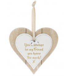 A Double Heart Plaque with friendship quote in gold