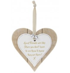A Double Heart Plaque with Friends Are Like Stars quote in gold