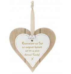 A Double Heart Plaque with Nice Normal Family quote