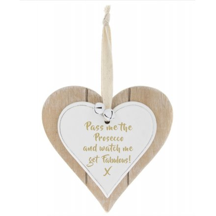 Fabulous Prosecco Double Heart Plaque 12cm