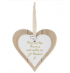A Double Heart Plaque with Fabulous Prosecco quote
