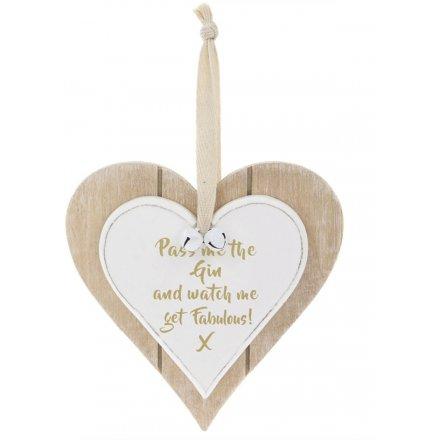Fabulous Gin Double Heart Plaque 12cm