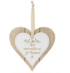 A Double Heart Plaque with Fabulous Gin quote