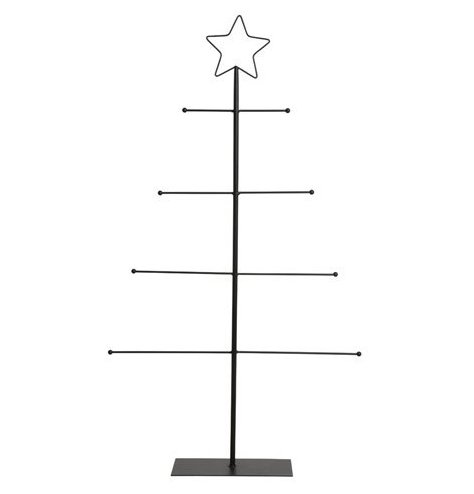 A contemporary display tree with 4 large branches to display hanging decorations.
