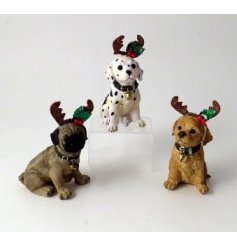 A mix of 3 cute and quirky Christmas dog ornaments, each with reindeer antlers and a collar with bell.