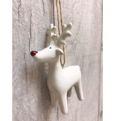 A mix of 3 white ceramic reindeer decorations, each with a ruby red nose and jute string hanger.