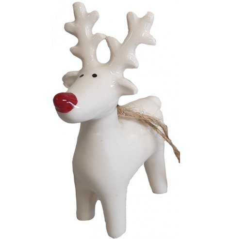 A glossy white reindeer decoration with a Rudolf red nose and jute string hanger.
