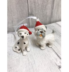 A mix of 4 ceramic dog ornaments each wearing a festive Christmas hat. A novel and unique item for your tree.