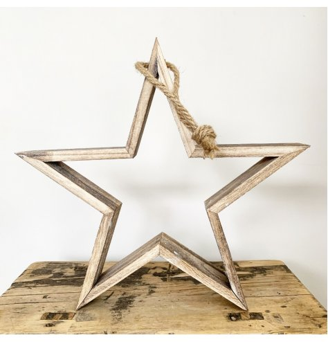 A rustic wooden star decoration with a natural finish and chunky rope hanger.