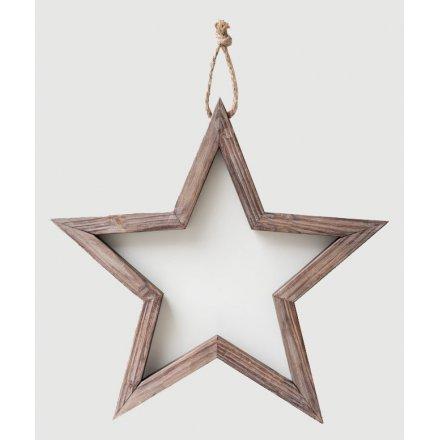 Medium Natural Wooden Frame Star 50cm
