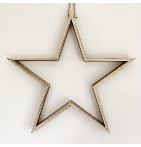 A rustic wooden star decoration with a chunky rope hanger and natural finish.