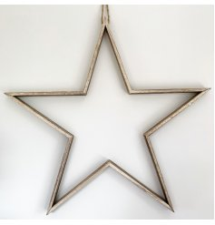 A beautifully simple yet stylish, natural wooden hanging star decoration