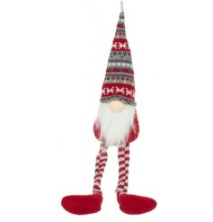 A fun and festive themed sitting fabric gonk decoration set with a jolly red and grey theme