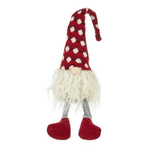 A traditional red and white sitting gonk decoration with a long beard, cute button nose and knitted hat.