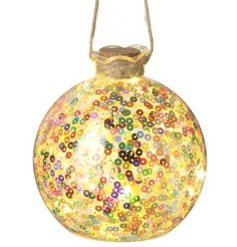 Add a colourful twist to any space of the home with this hanging glass bauble decoration