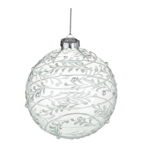 An elegant glass bauble with a pretty, swirling leaf decal and silver beads.