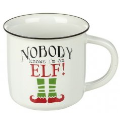 This black script mug will be sure to improve any morning coffee or tea break for naughty elves this Christmas time!