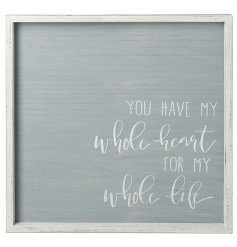 A beautifully simple white wash framed plaque with an added neutral grey tone and printed script quote