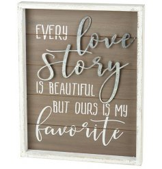 With a white washed frame and printed text, this charming home decoration will place perfectly in any themed interior