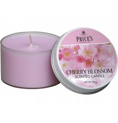 Freshen your home with a calming scent of Cherry Blossoms with this sweetly scented candle tin