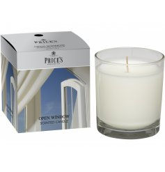 Freshen your home with a calming scent of of the fresh outside with this sweetly scented candle jar