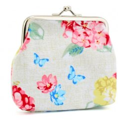A Clip Top Coin Purse With Floral Hydrangea Design