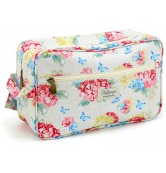 A Cosmetic Wash Bag With Floral Hydrangea Design