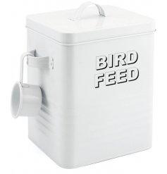 A White Metal Bird FeedStorage Tin
