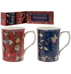 A set of 2 William Kilburn Red/Navy Floral Mugs