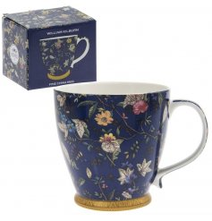A William Kilburn inspired Navy & gold Floral Mug