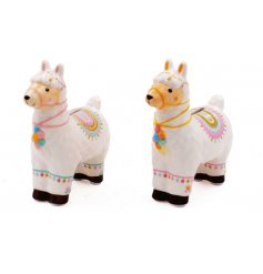 a sweet assortment of ceramic llama money boxes