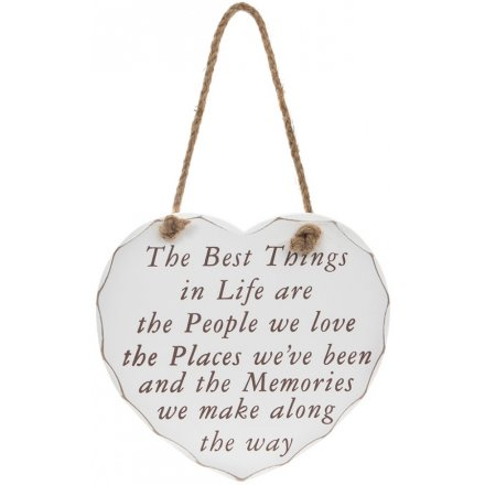 The Best Things In Life Heart Hanging Plaque