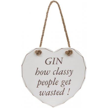 Gin Classy Wasted Heart Plaque