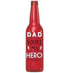 A Light Up LED Red Dad Hero motto Bottle