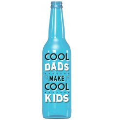 A Blue LED Bottle Featuring Cool Dads Motto