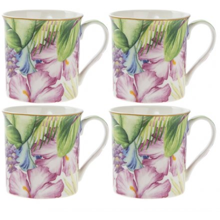 Set Of 4 Tropical Paradise Mugs