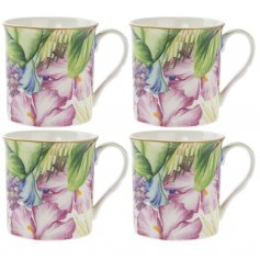 A Set Of 4 Tropical Paradise print Mugs