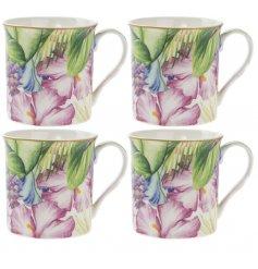 A Set Of 4 Tropical Paradise print Mugs