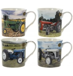 An assortment of 4 Farmyard Tractor Mugs