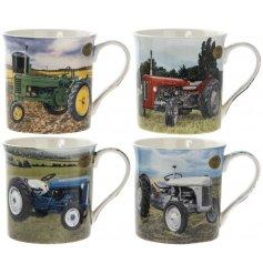 An assortment of 4 Tractor Mugs