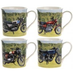 An assortment of 4 Motorcycle Mugs