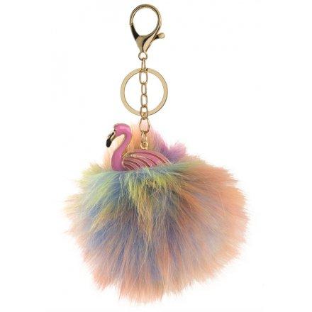 Colourful Flamingo Pom Pom Key Chain