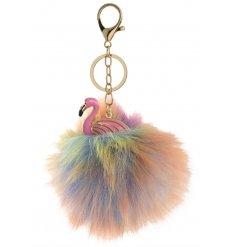 A Colourful Flamingo Pom Pom Keyring