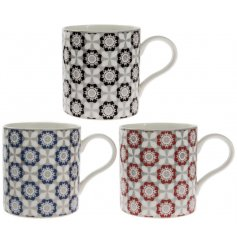 A charming assortment of Fine China Mugs each complete with a stylish Blue, Red and black based pattern