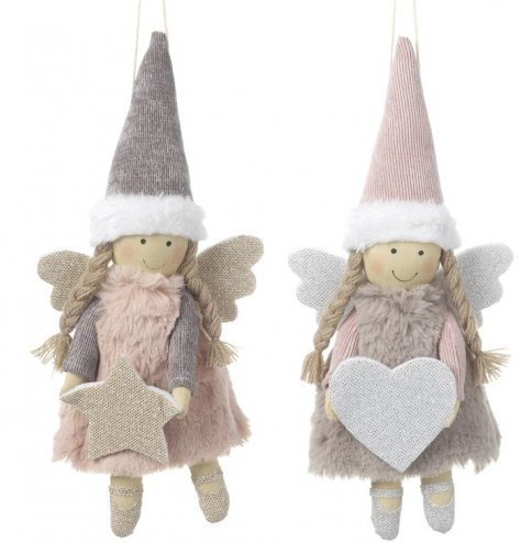 Pretty pink and purple fairy angel hangers with ballet shoes and faux fur dresses.