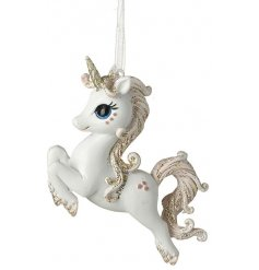Bring a magical touch to any home scene or display with this sweet little hanging unicorn figure